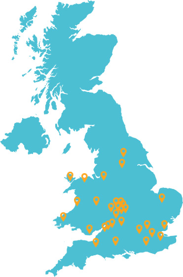 Areas we've covered around the UK